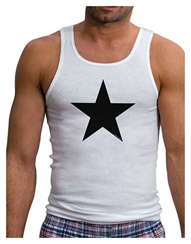 Black Star Mens Ribbed Tank Top