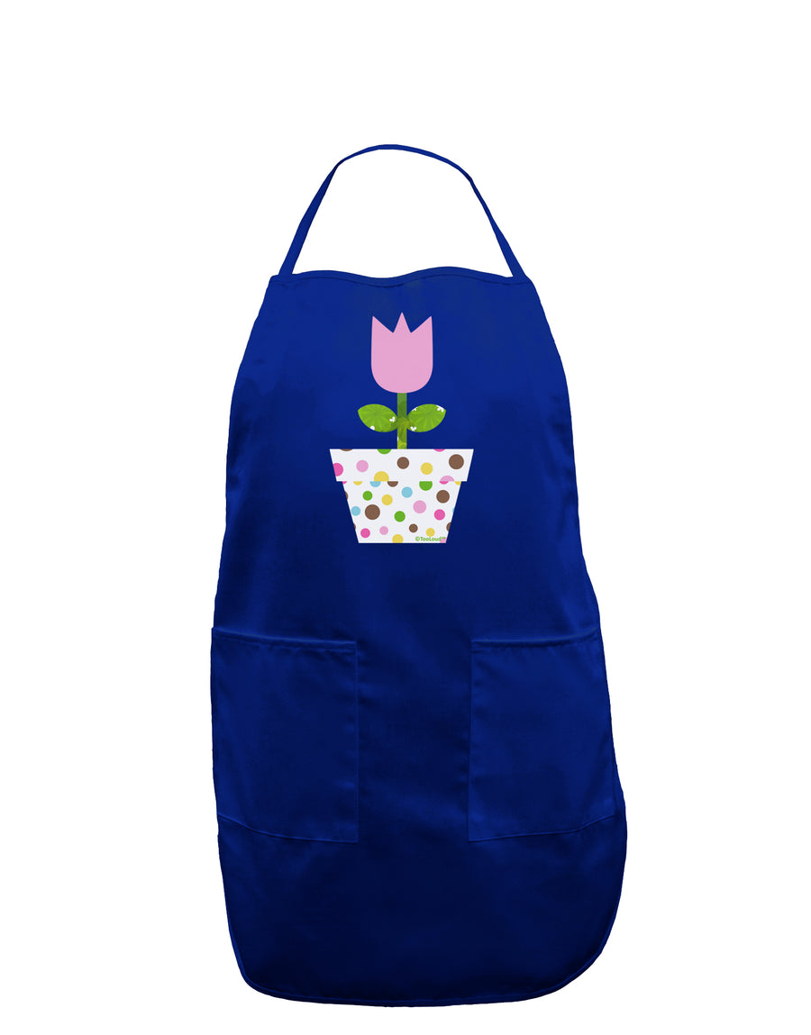Easter Tulip Design - Pink Dark Adult Apron by TooLoud