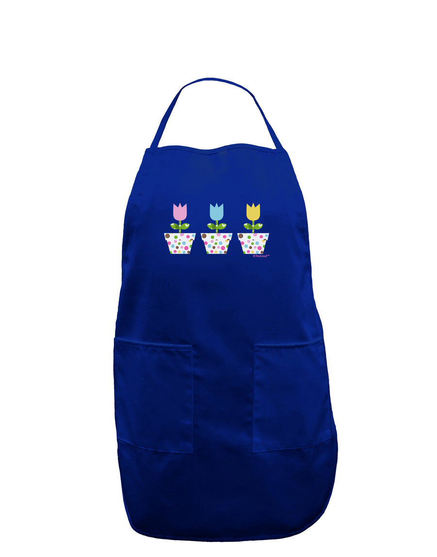 Three Easter Tulips Dark Adult Apron by TooLoud