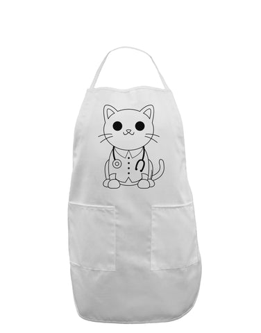 Cat Doctor Coloring Book Style Adult Apron - White - One-Size Tooloud