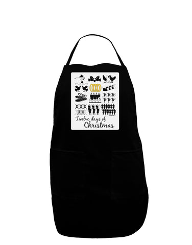 12 Days of Christmas Text Color Panel Dark Adult Apron