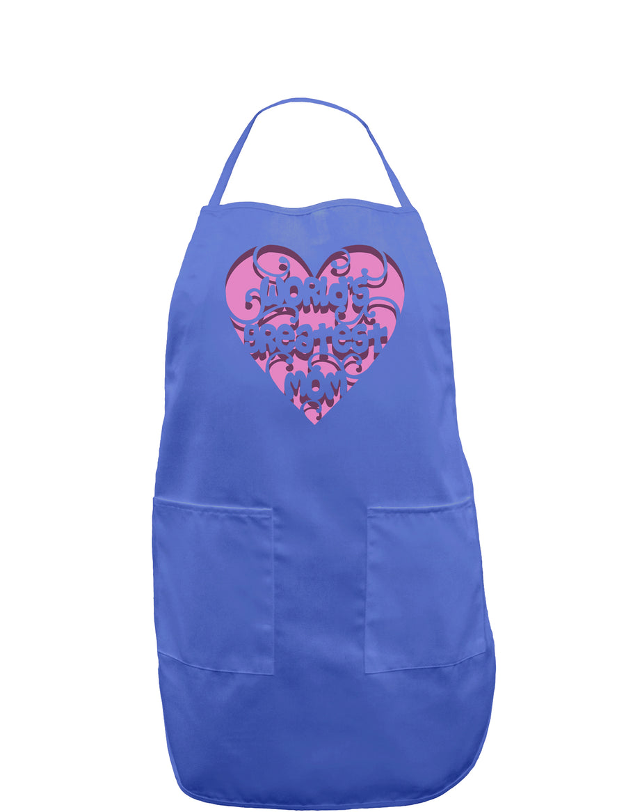 World's Greatest Mom Heart Dark Adult Apron
