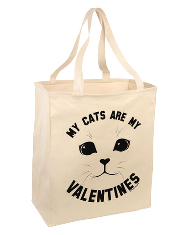 My Cats are my Valentines Large Grocery Tote Bag by TooLoud