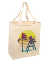 LA Beach Silhouette Letters Large Grocery Tote Bag-Natural