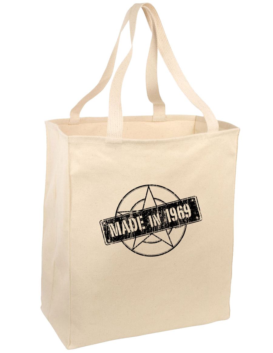 50th Birthday Gift Made in 1969 Large Grocery Tote Bag-Natural by TooLoud