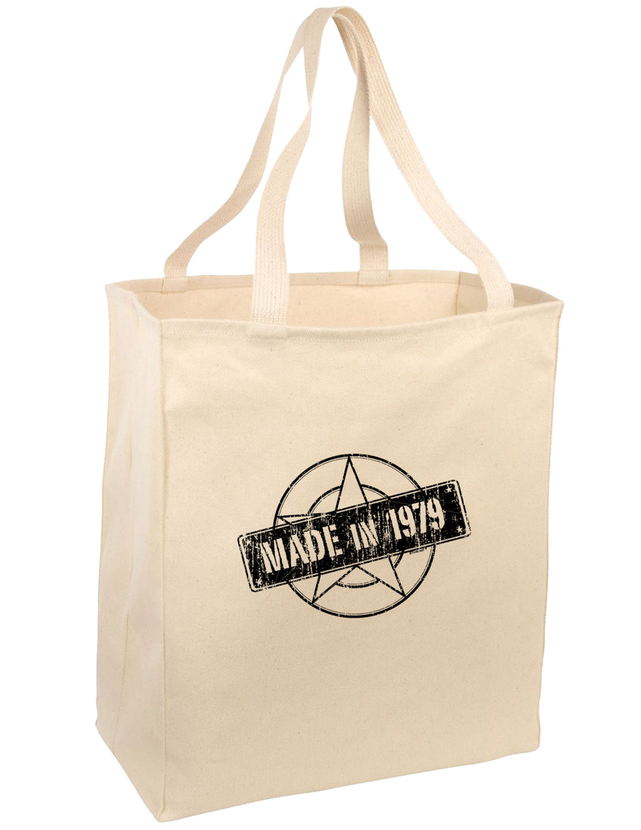 40th Birthday Gift Made in 1979 Large Grocery Tote Bag-Natural by TooLoud