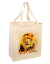 Lion Watercolor 4 Text Large Grocery Tote Bag