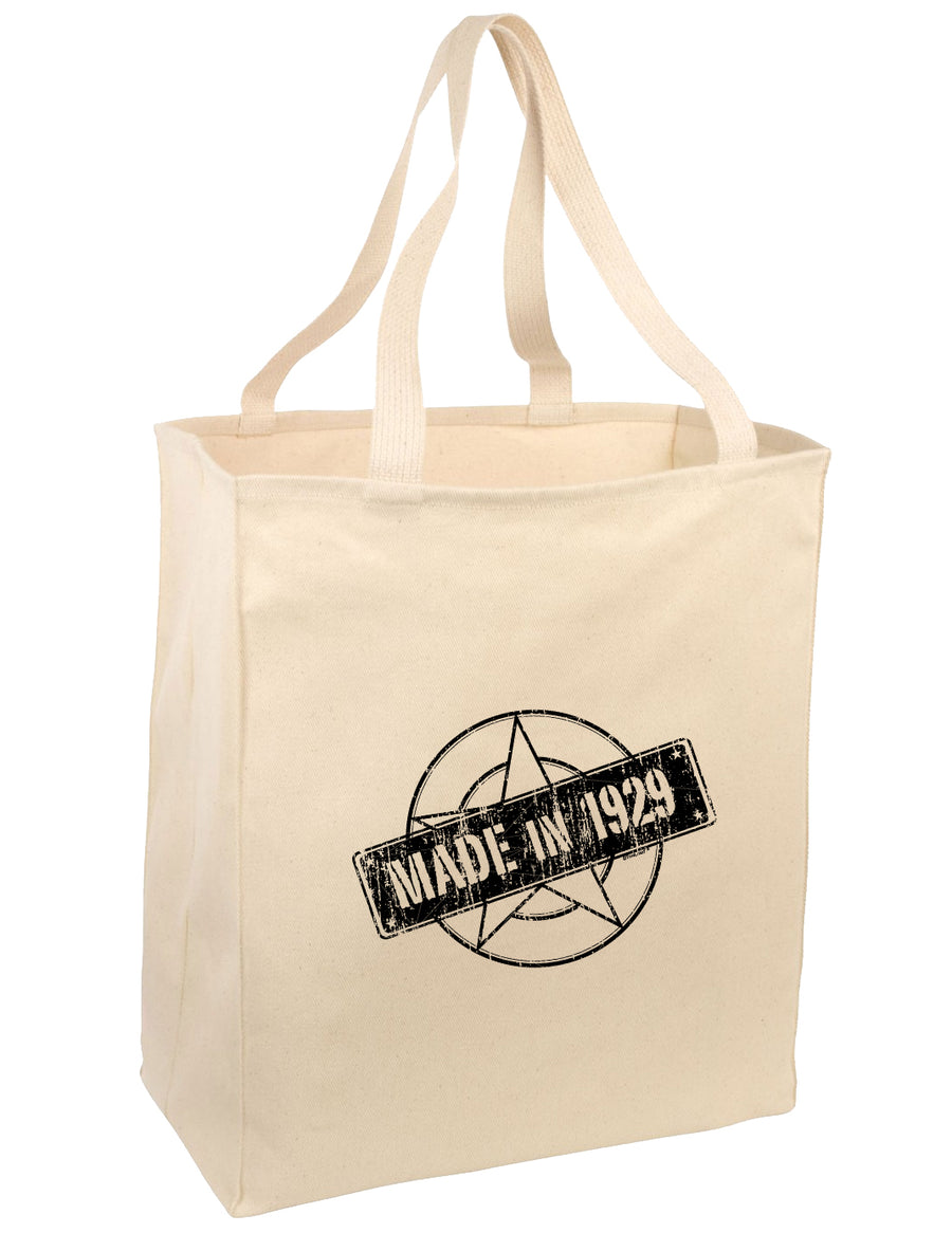 90th Birthday Gift Made in 1929 Large Grocery Tote Bag-Natural by TooLoud