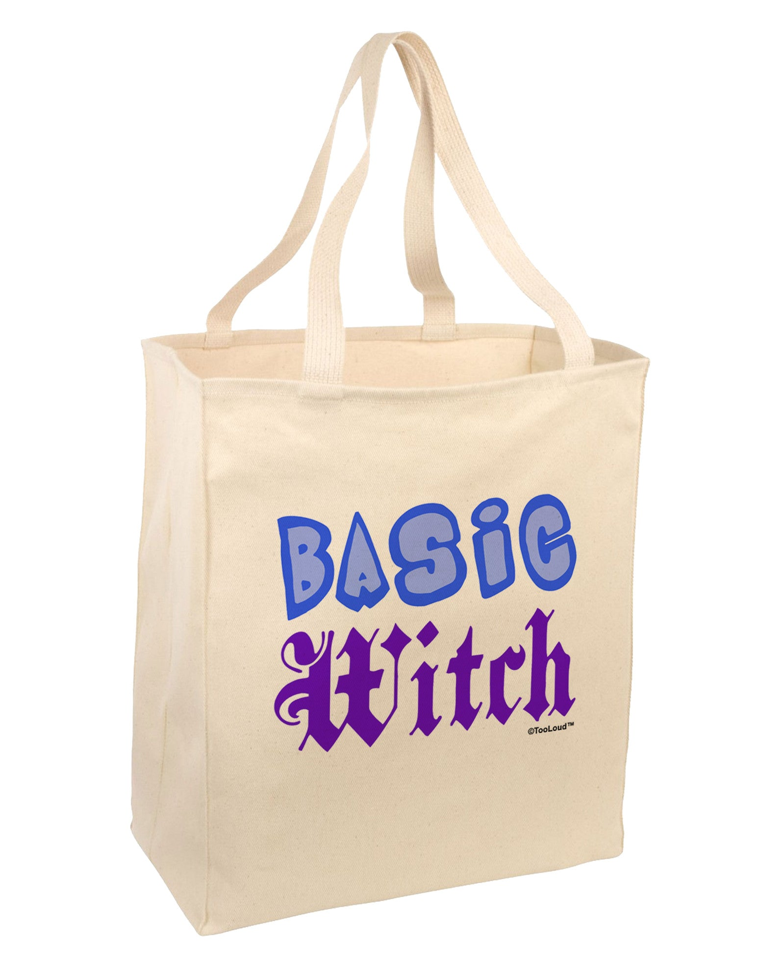 Basic Witch Color Blue Large Grocery Tote Bag