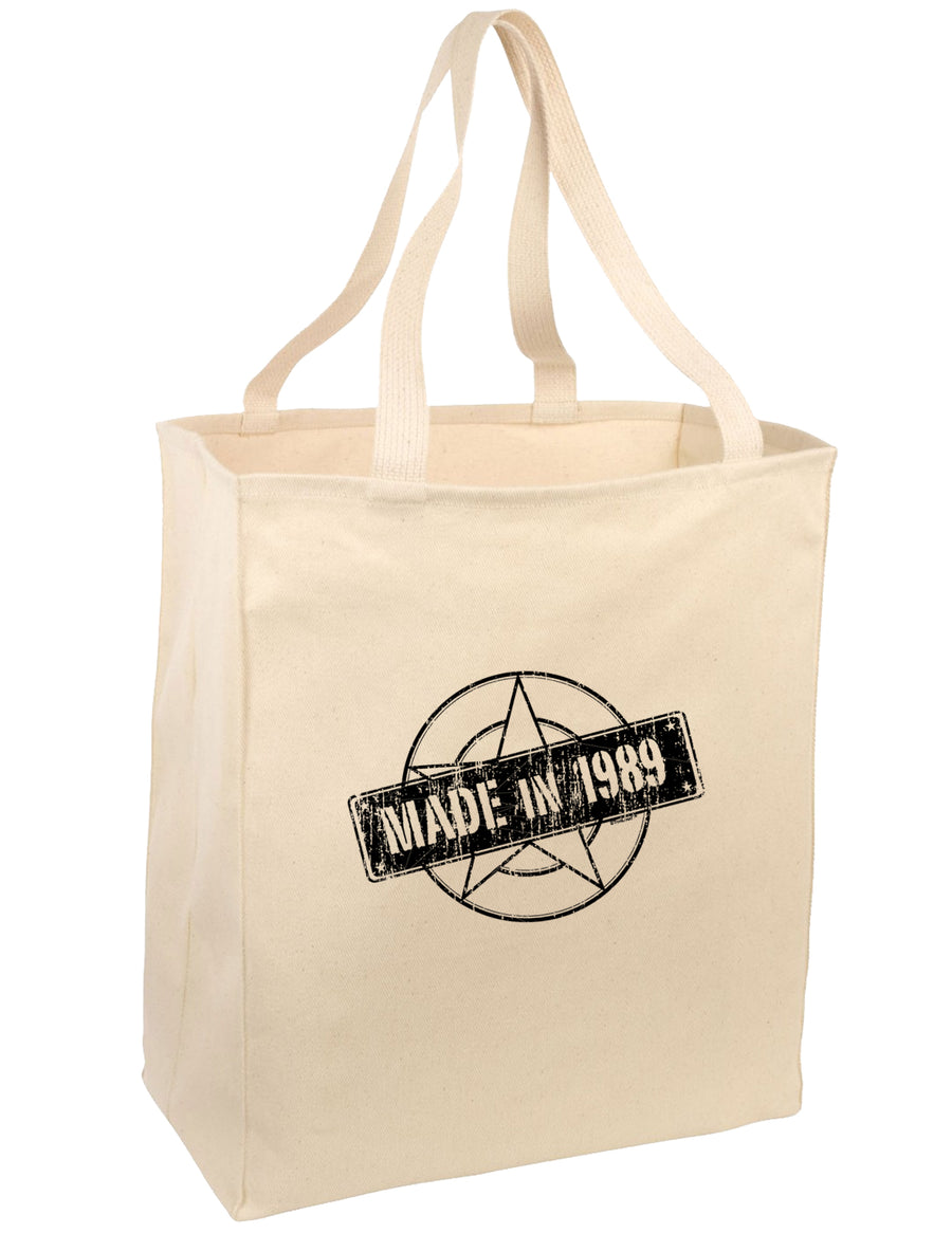 30th Birthday Gift Made in 1989 Large Grocery Tote Bag-Natural by TooLoud