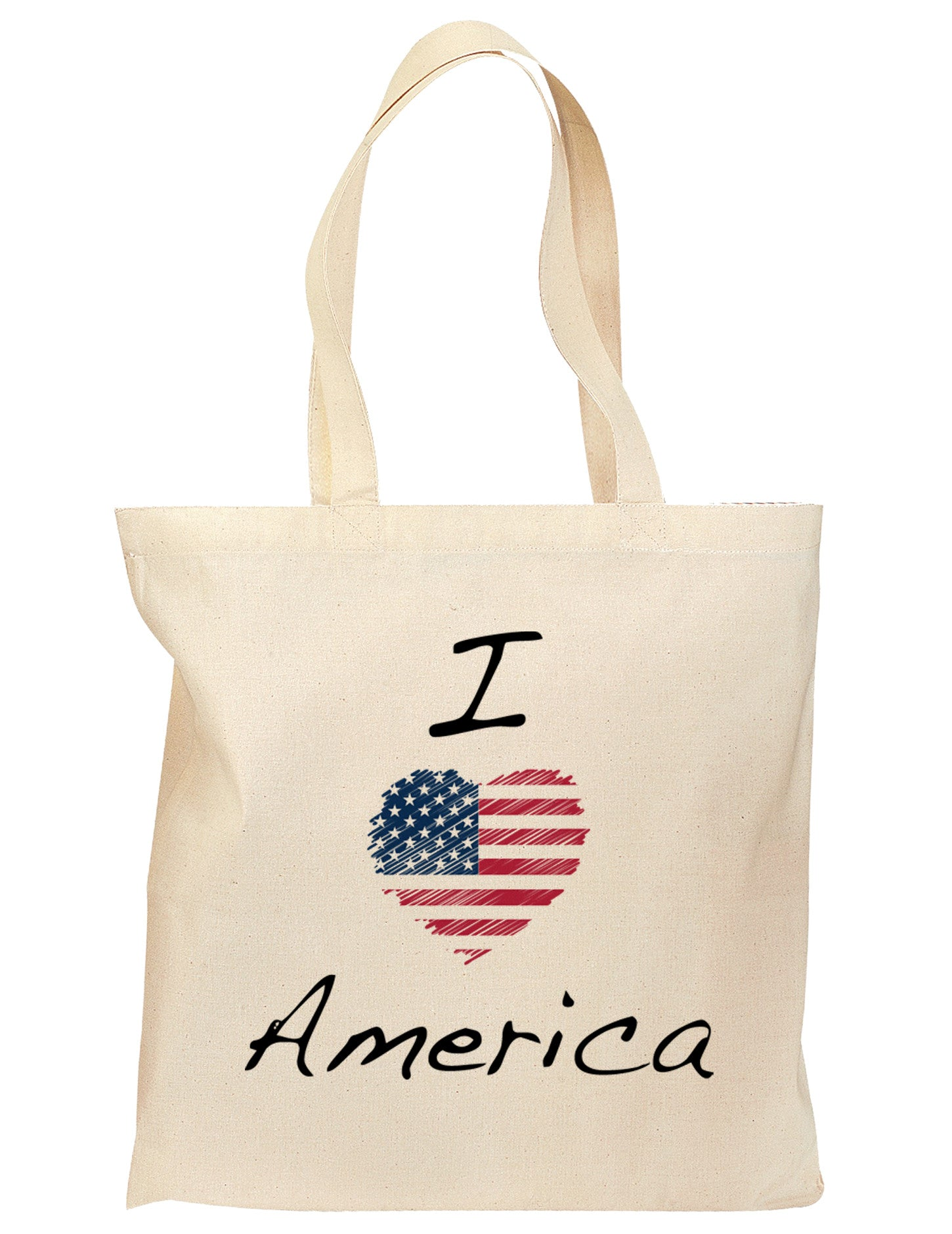 I Heart America Scribble Grocery Tote Bag