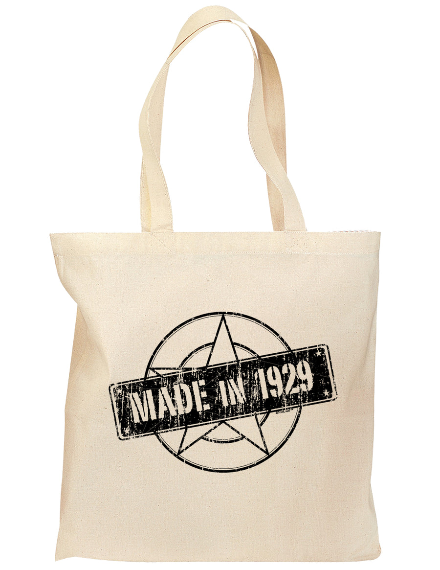 90th Birthday Gift Made in 1929 Grocery Tote Bag - Natural by TooLoud