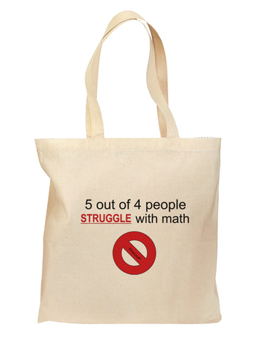 5 out of 4 People Funny Math Humor Grocery Tote Bag - Natural by TooLoud