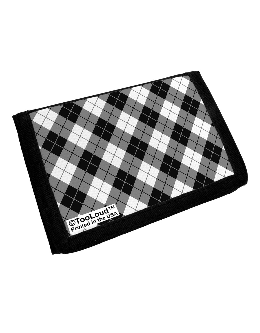 Black and White Argyle AOP Trifold Wallet All Over Print by TooLoud