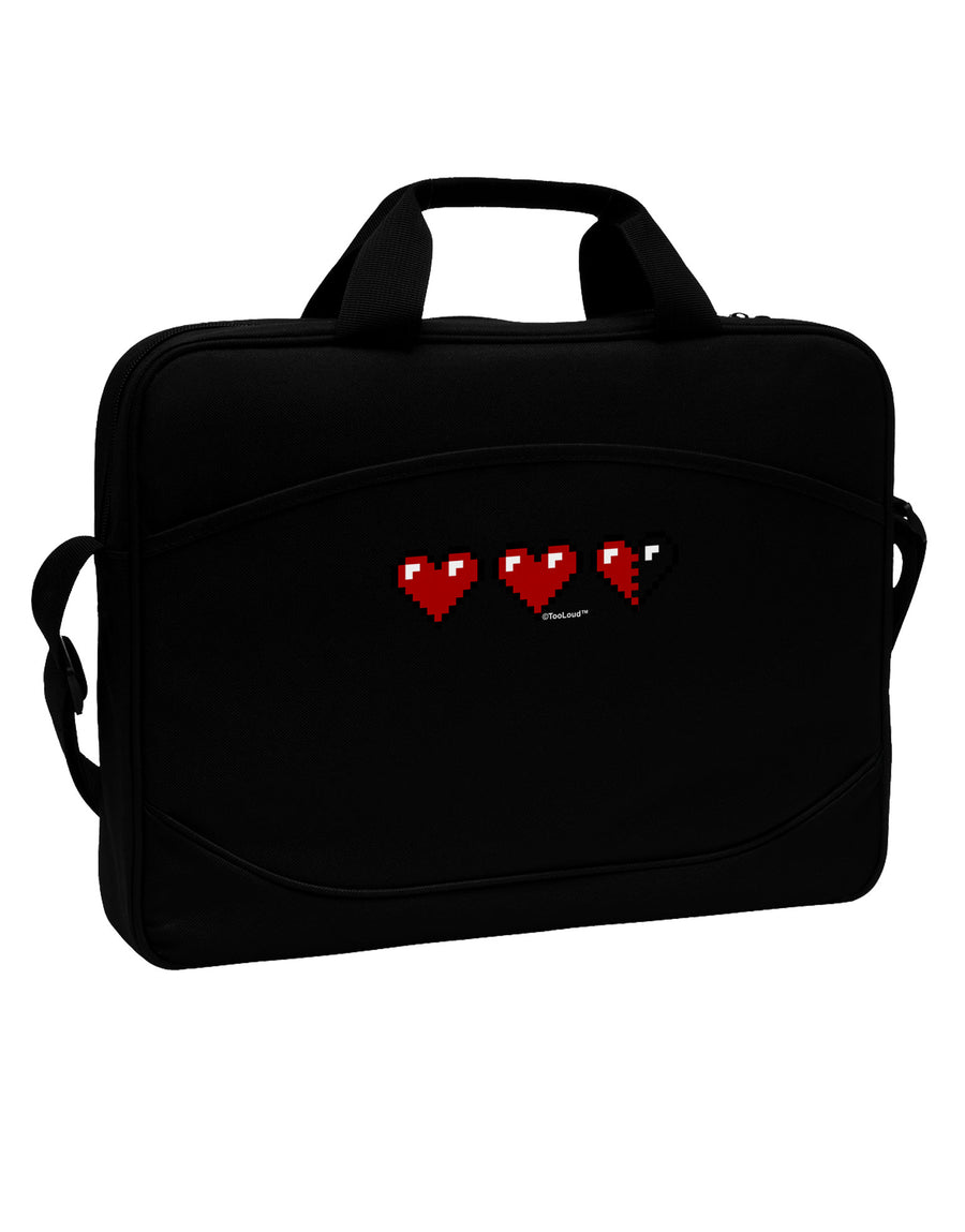 "Couples Pixel Heart Life Bar - Left 15"" Dark Laptop / Tablet Case Bag by TooLoud"