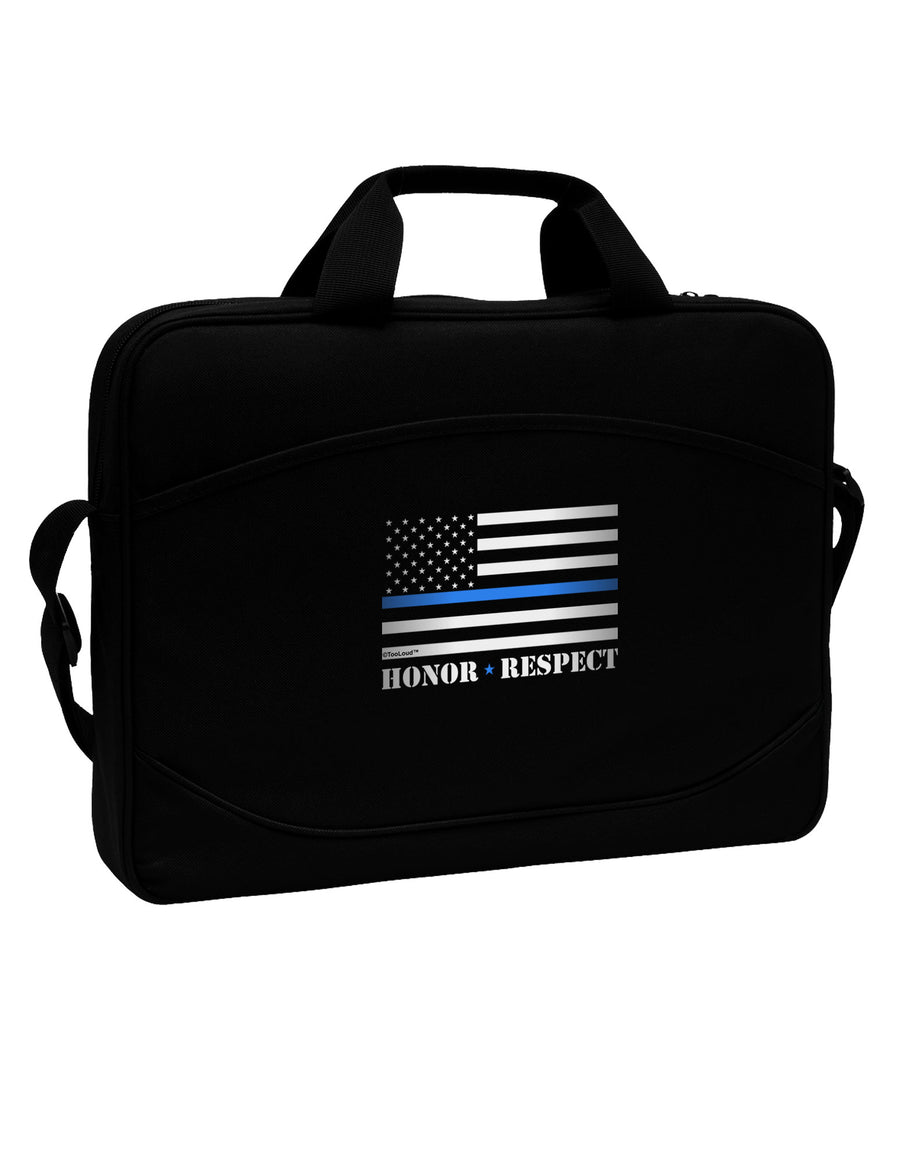 "Honor Respect Blue Line 15"" Dark Laptop / Tablet Case Bag"