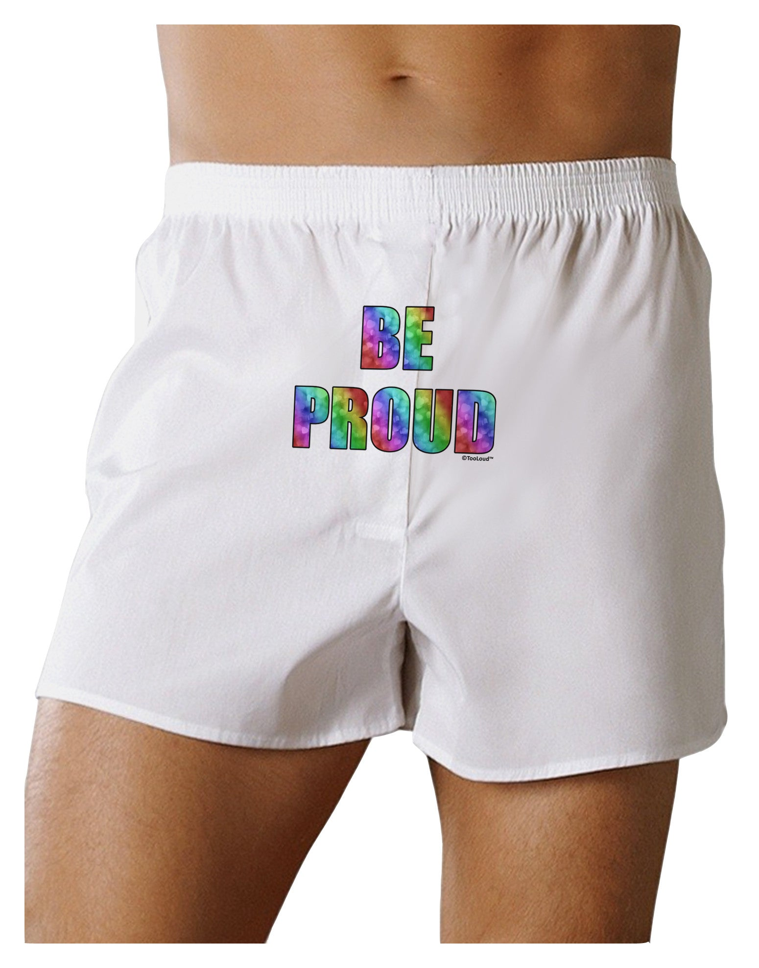 Be Proud Gay Pride - Rainbow Hearts Front Print Boxer Shorts by TooLoud