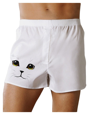 TooLoud Yellow Amber-Eyed Cute Cat Face Boxers Shorts