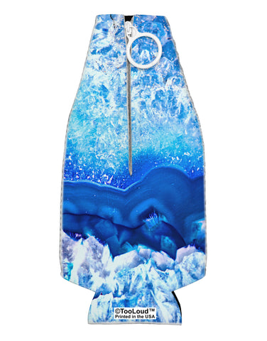 Blue Agate Geode Print Collapsible Neoprene Bottle Insulator All Over Print