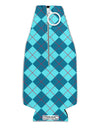 Blue Argyle AOP Collapsible Neoprene Bottle Insulator All Over Print by TooLoud