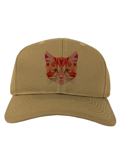 Geometric Kitty Red Adult Baseball Cap Hat