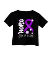 Hope for a Cure - Purple Ribbon Alzheimers Disease - Flowers Infant T-Shirt Dark