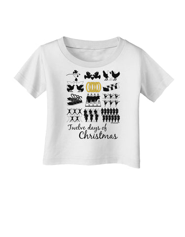 12 Days of Christmas Text Color Infant T-Shirt