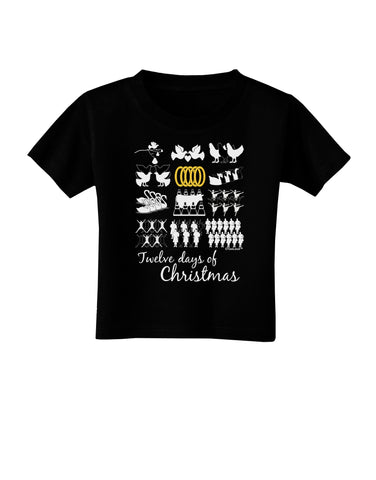 12 Days of Christmas Text Color Toddler T-Shirt Dark