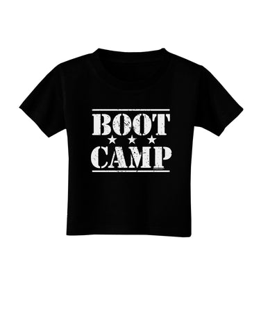 Bootcamp Large distressed Text Toddler T-Shirt Dark by TooLoud