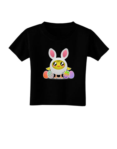 Chick In Bunny Costume Toddler T-Shirt Dark