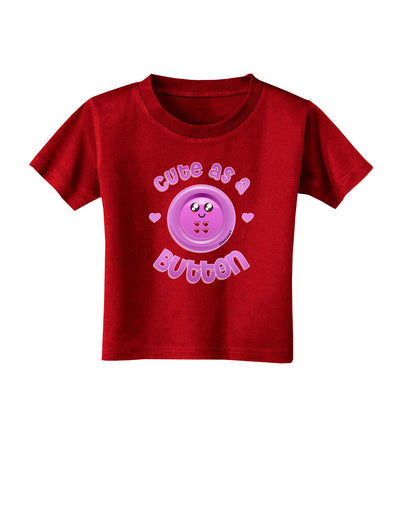 Cute As A Button Smiley Face Toddler T-Shirt Dark
