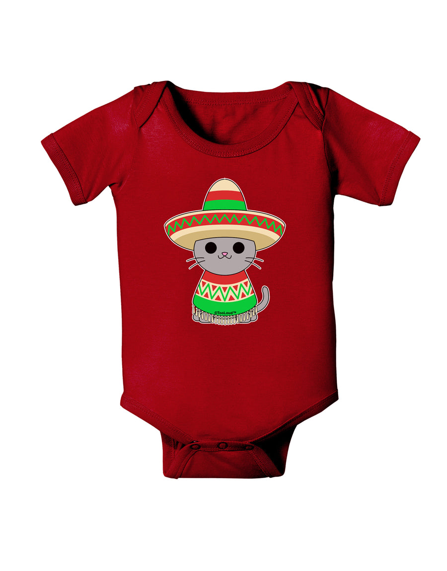 Cat with Sombrero and Poncho Baby Bodysuit Dark by TooLoud