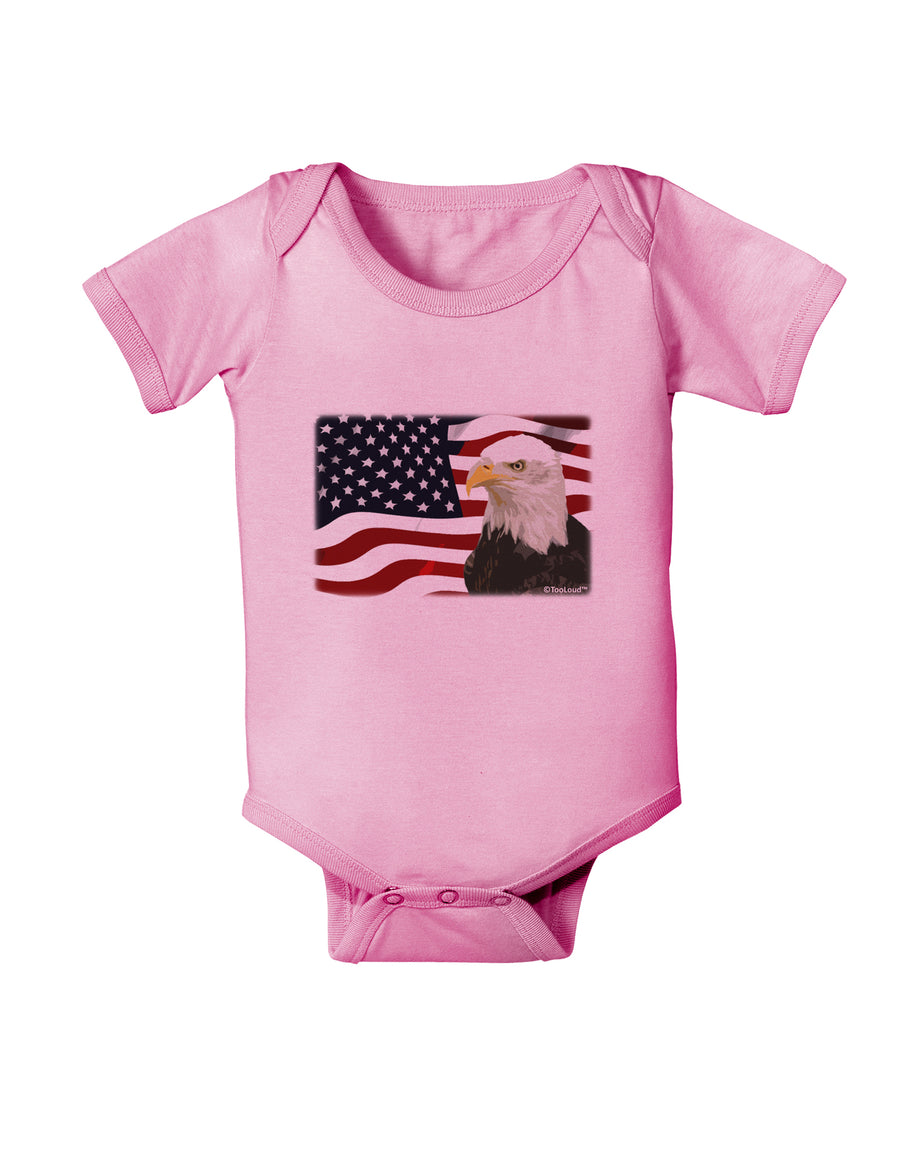 Patriotic USA Flag with Bald Eagle Baby Romper Bodysuit by TooLoud