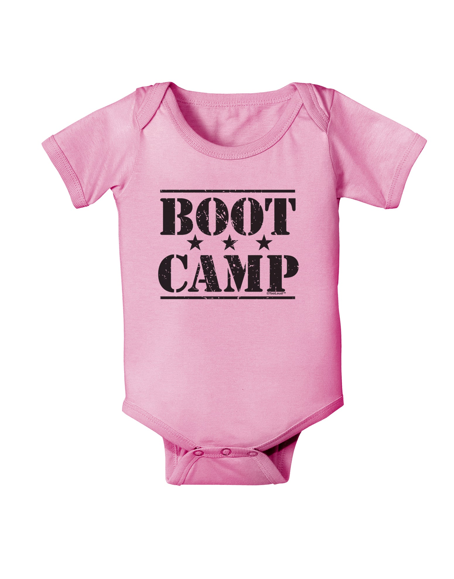 TooLoud Boot Camp Distressed Text Baby Romper Bodysuit