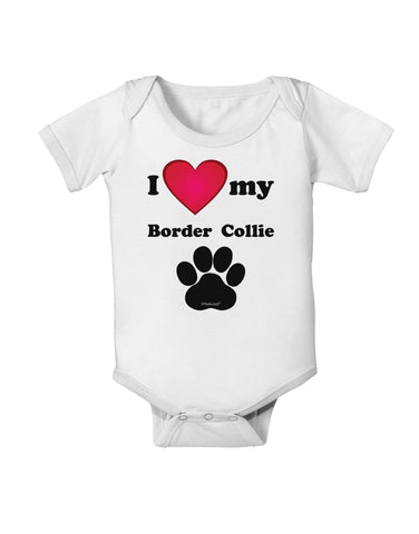 I Heart My Border Collie Baby Romper Bodysuit by TooLoud