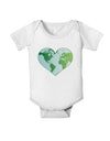 TooLoud World Globe Heart Baby Romper Bodysuit