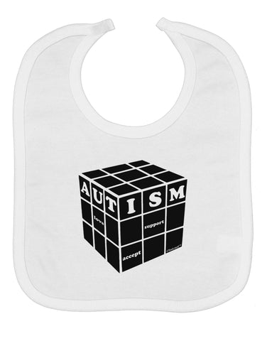 Autism Awareness - Cube B & W Baby Bib