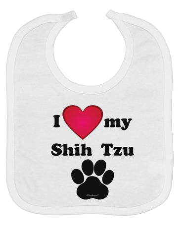 I Heart My Shih Tzu Baby Bib by TooLoud