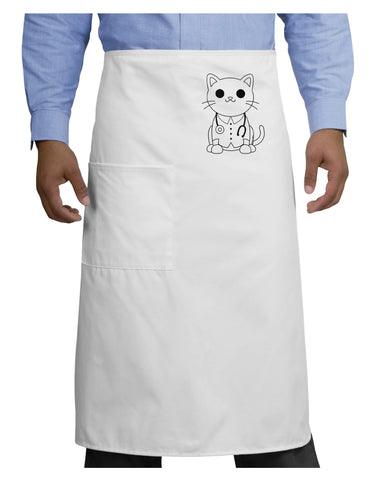 Cat Doctor Coloring Book Style Adult Bistro Apron - White - One-Size T