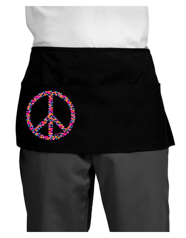 Peace Sign Hearts Dark Adult Mini Waist Apron