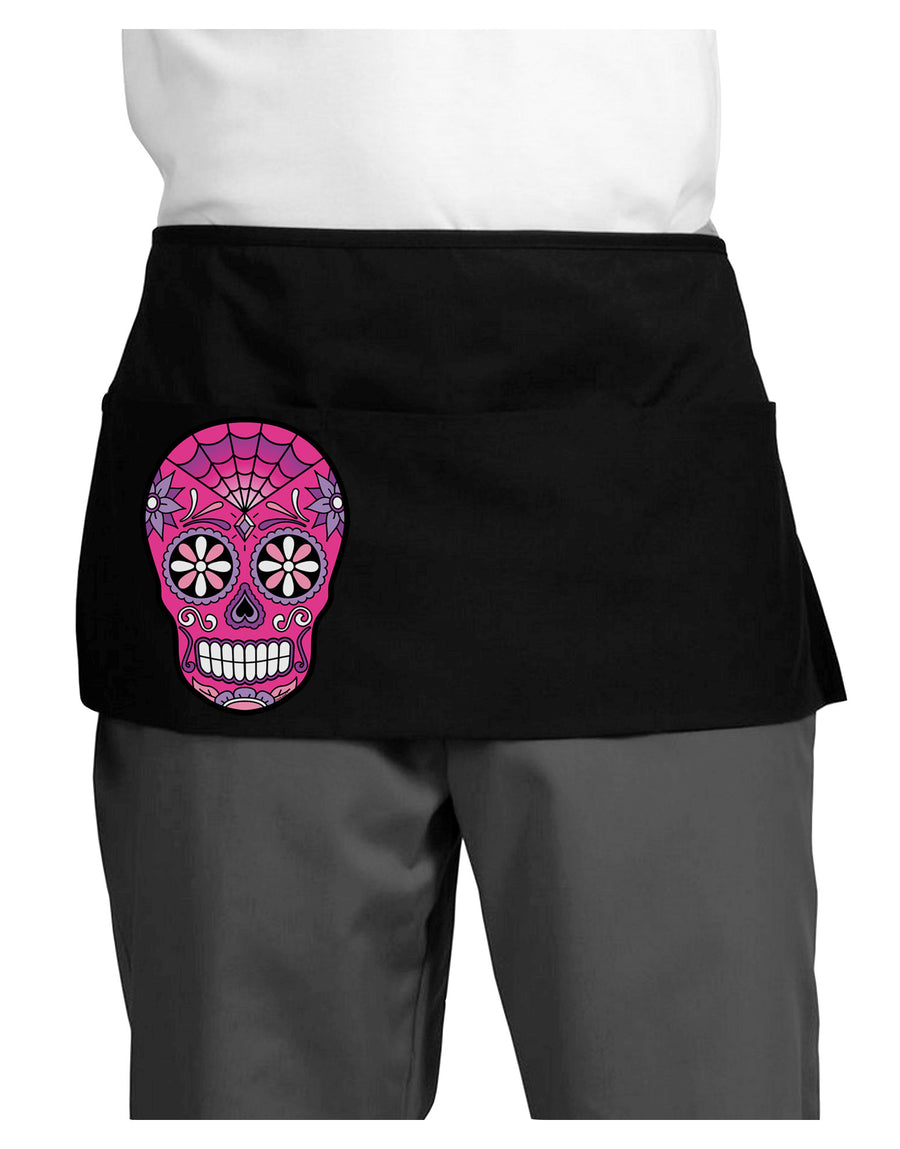Version 4 Pink Day of the Dead Calavera Dark Adult Mini Waist Apron, Server Apron