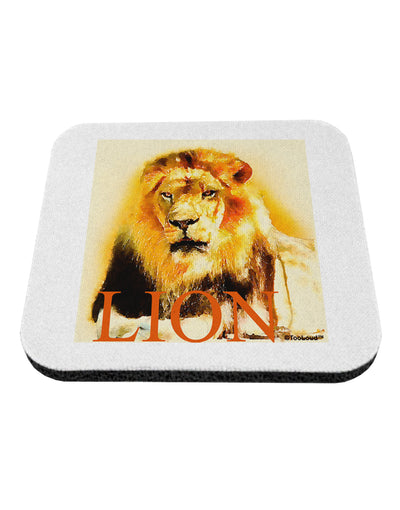 Lion Watercolor 4 Text Coaster
