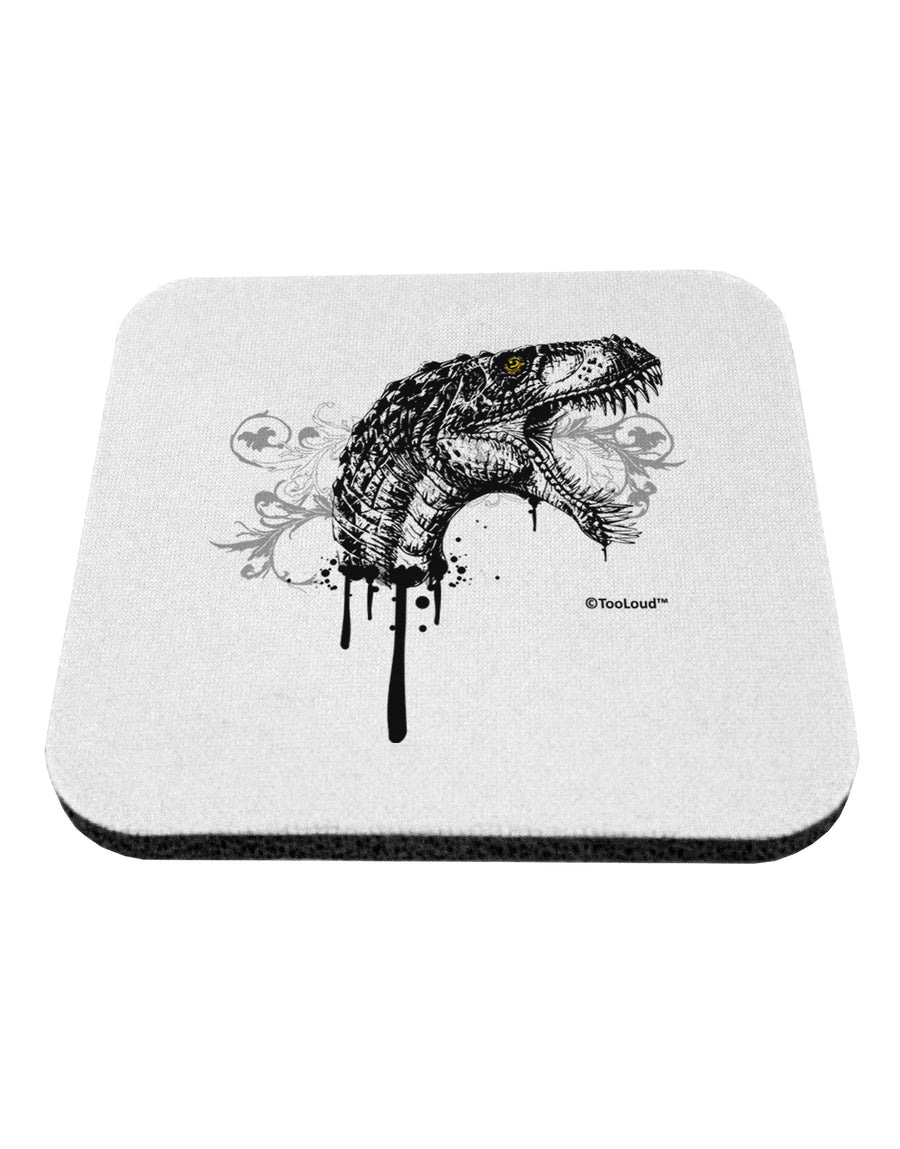 Artistic Ink Style Dinosaur Head Design Coaster by TooLoud