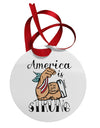 America is Strong We will Overcome This Circular Metal Ornament