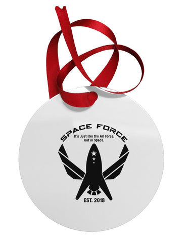 Space Force Funny Anti Trump Circular Metal Ornament by TooLoud