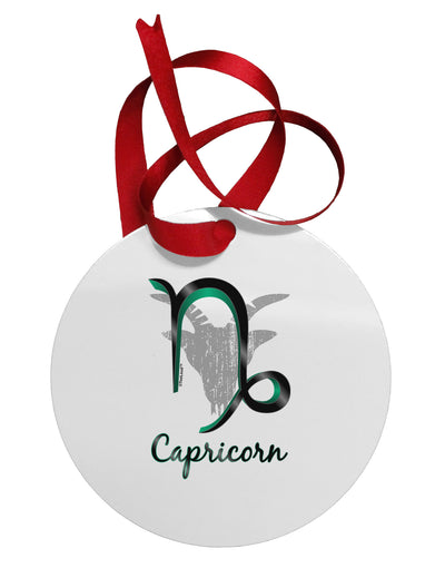Capricorn Symbol Circular Metal Ornament