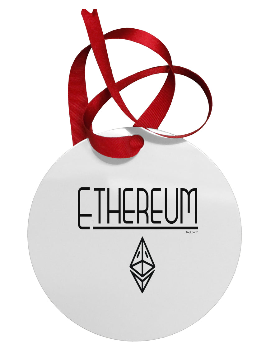 Ethereum with logo Circular Metal Ornament