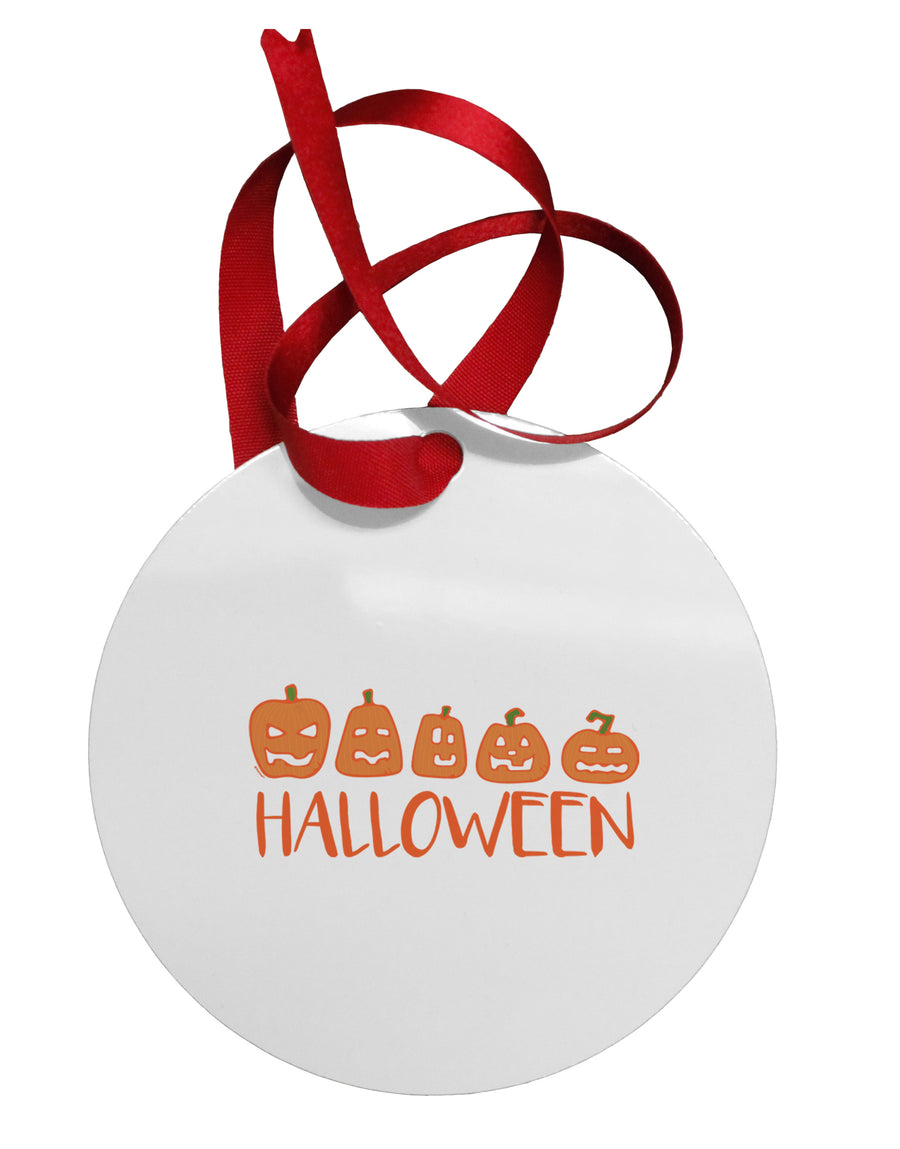 Halloween Pumpkins Circular Metal Ornament