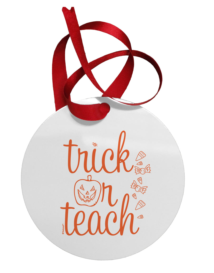 Trick or Teach Circular Metal Ornament
