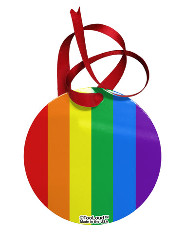 Rainbow Vertical Gay Pride Flag Circular Metal Ornament All Over Print by TooLoud
